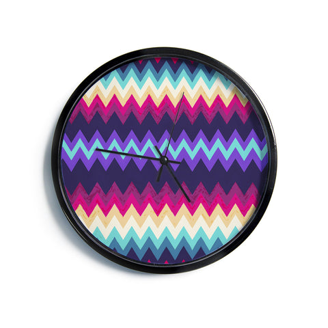 "Nika Martinez ""Surf Chevron""  Modern Wall Clock"