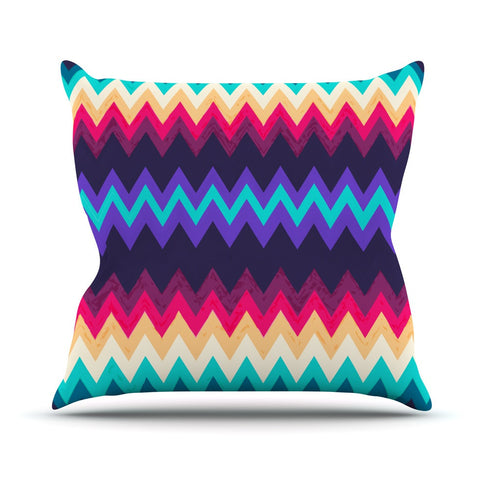 "Nika Martinez ""Surf Chevron"" Outdoor Throw Pillow - KESS InHouse  - 1"