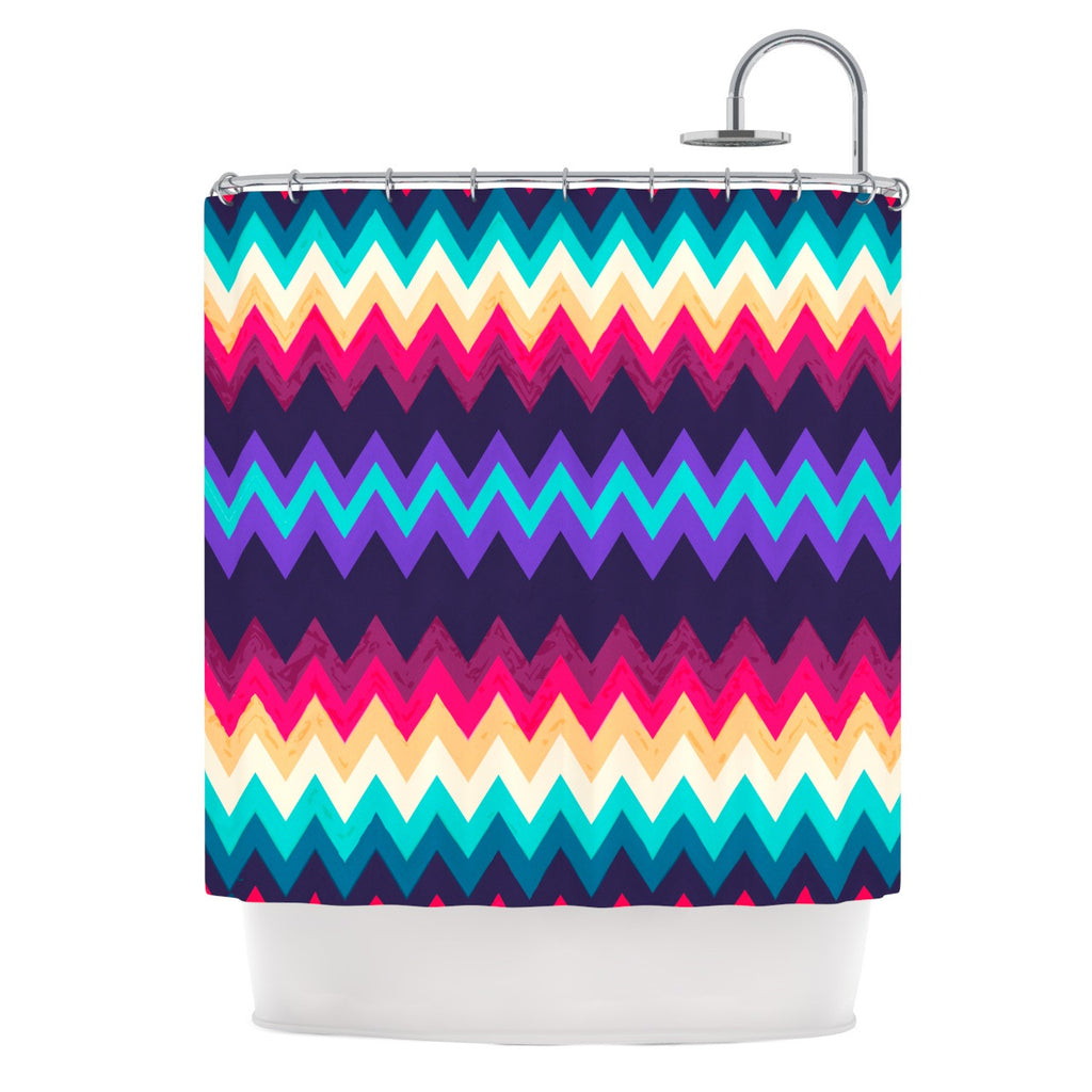"Nika Martinez ""Surf Chevron"" Shower Curtain - KESS InHouse"