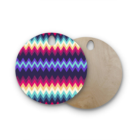 "Nika Martinez ""Surf Chevron"" Round Wooden Cutting Board"