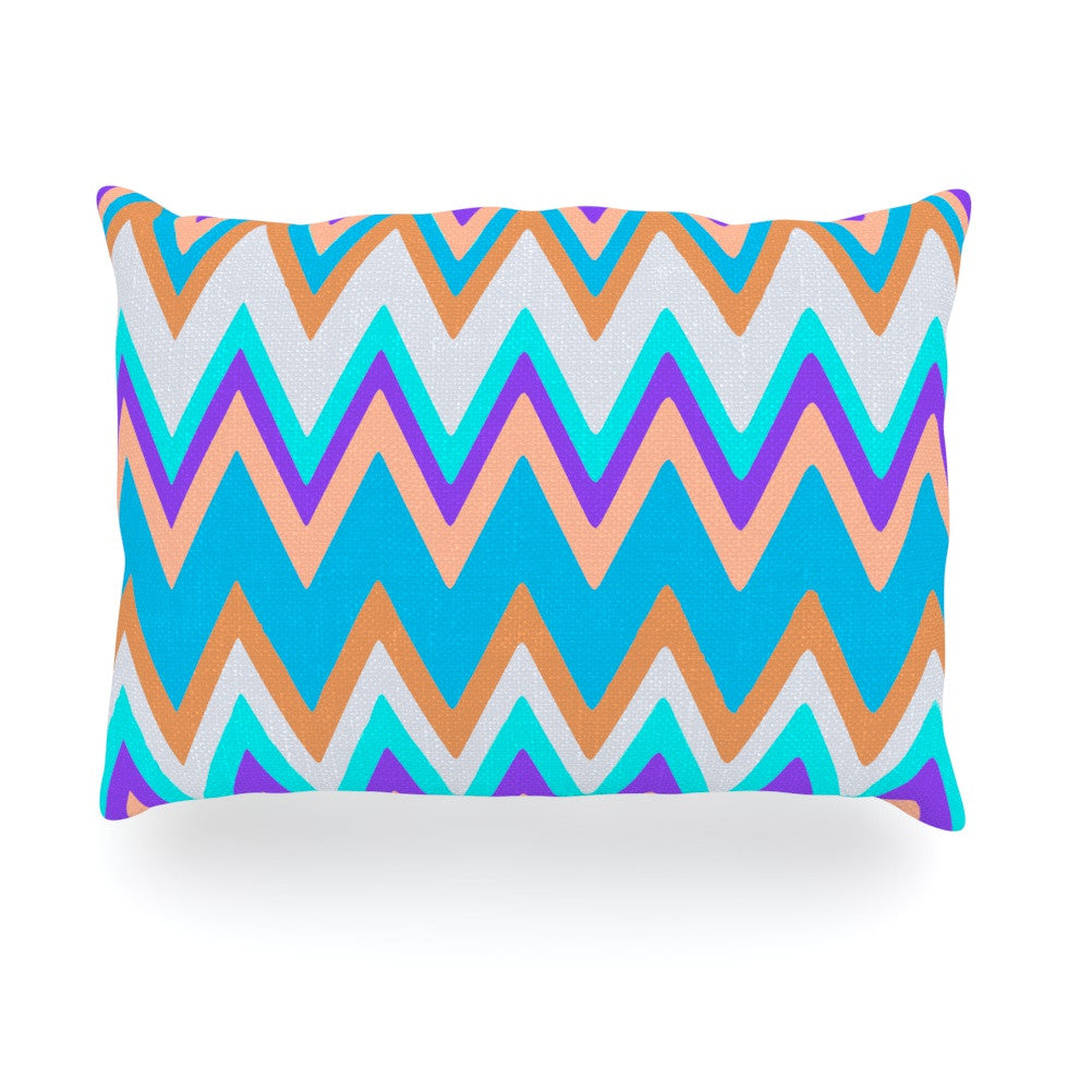 "Nika Martinez ""Girly Surf Chevron"" Oblong Pillow - KESS InHouse"