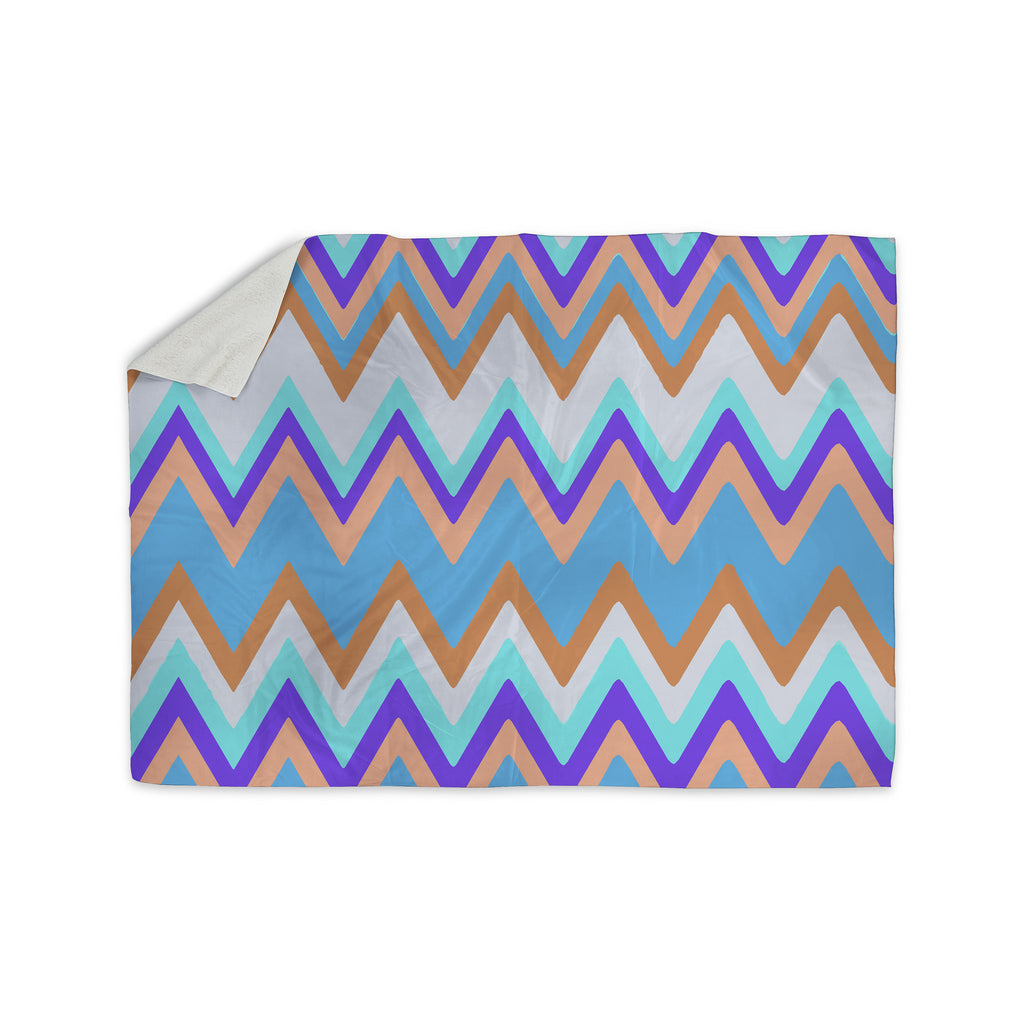 "Nika Martinez ""Girly Surf Chevron"" Sherpa Blanket - KESS InHouse  - 1"