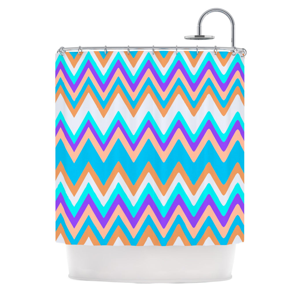 "Nika Martinez ""Girly Surf Chevron"" Shower Curtain - KESS InHouse"