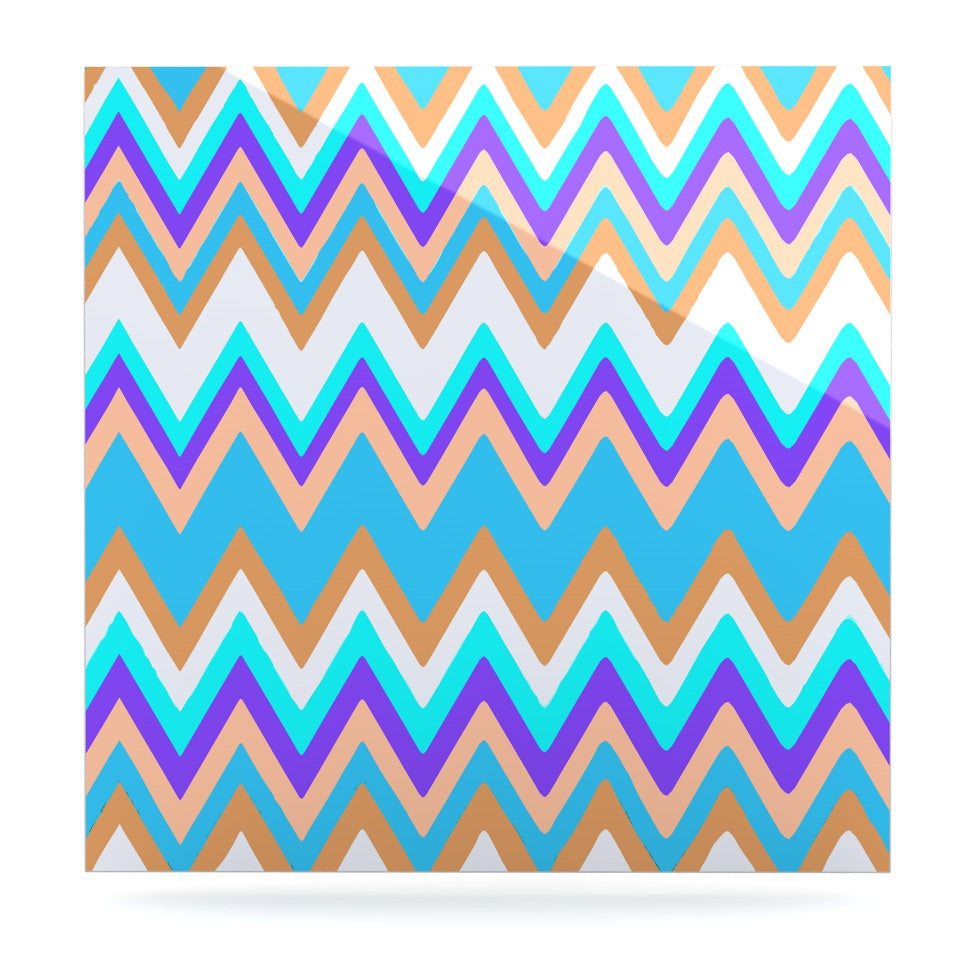 "Nika Martinez ""Girly Surf Chevron"" Luxe Square Panel - KESS InHouse  - 1"