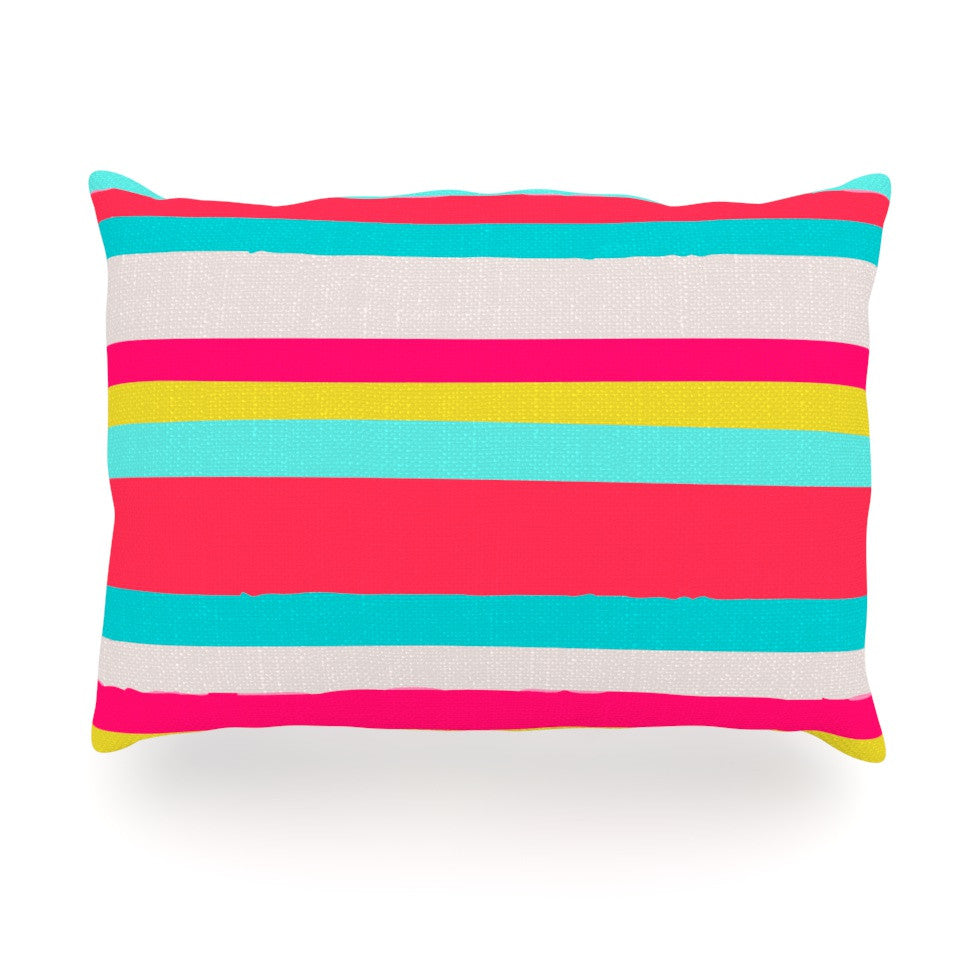 "Nika Martinez ""Girly Surf Stripes"" Oblong Pillow - KESS InHouse"