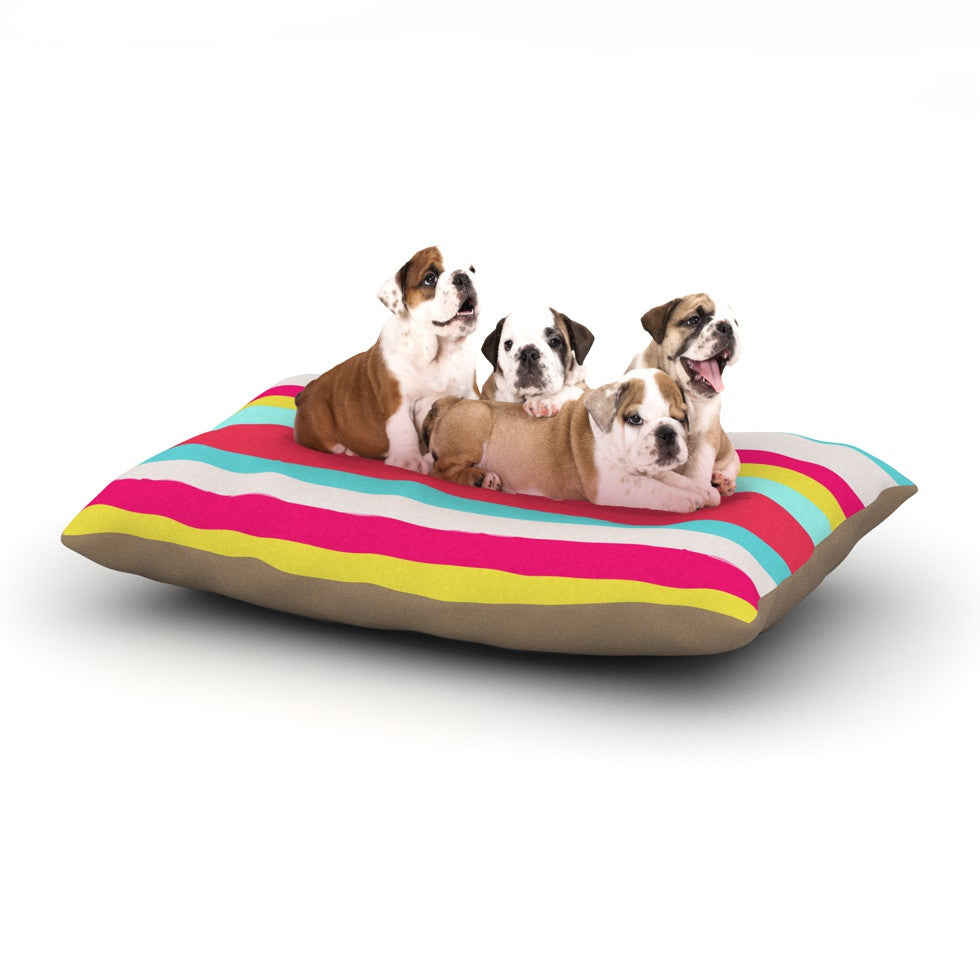 "Nika Martinez ""Girly Surf Stripes"" Dog Bed - KESS InHouse  - 1"