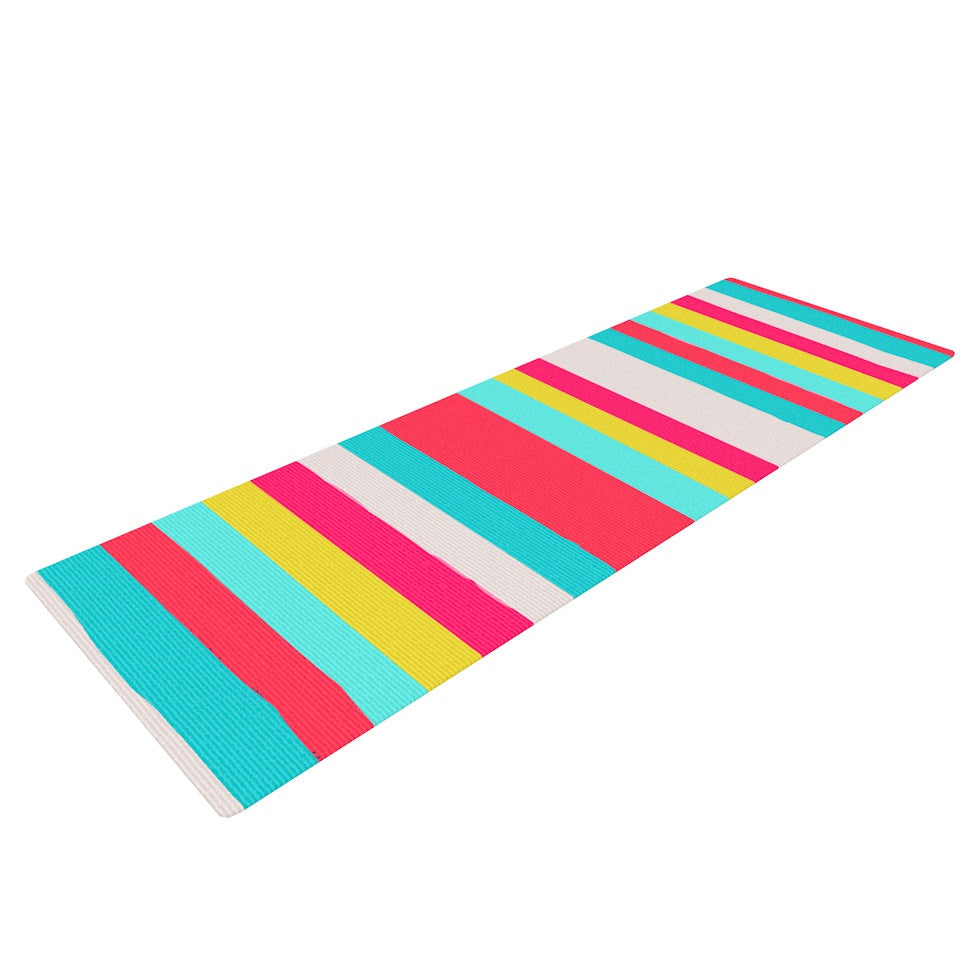 "Nika Martinez ""Girly Surf Stripes"" Yoga Mat - KESS InHouse  - 1"