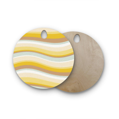 "Nika Martinez ""Desert Waves"" Round Wooden Cutting Board"