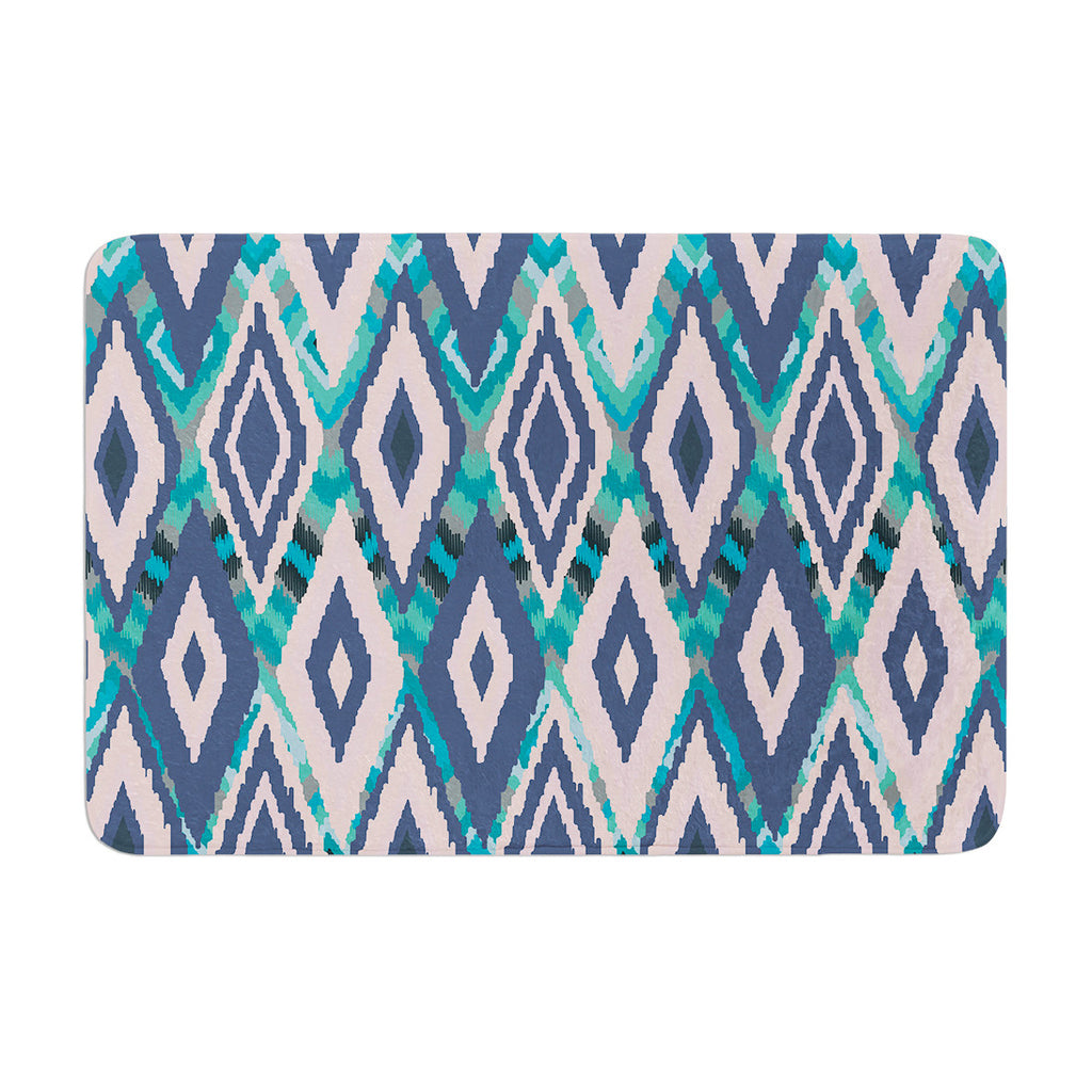 "Nika Martinez ""Tribal Ikat"" Blue Pattern Memory Foam Bath Mat - KESS InHouse"