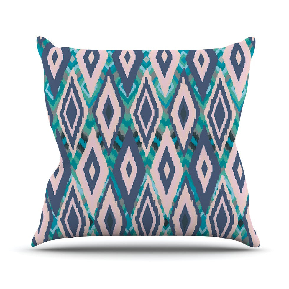 "Nika Martinez ""Tribal Ikat"" Blue Pattern Throw Pillow - KESS InHouse  - 1"