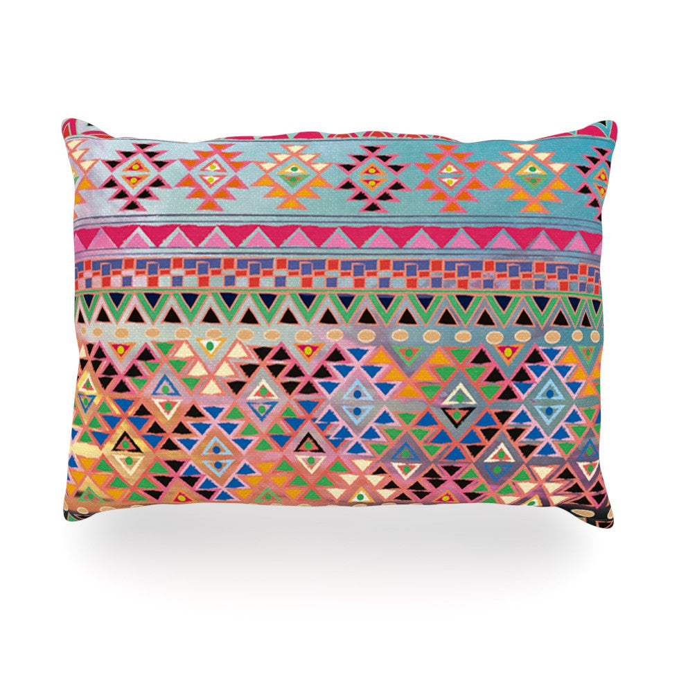 "Nika Martinez ""Tribal Native"" Red Pattern Oblong Pillow - KESS InHouse"
