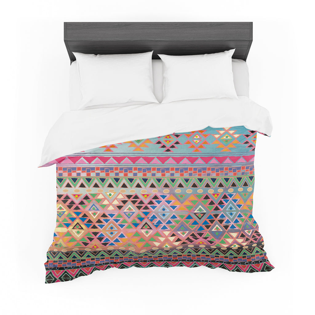 "Nika Martinez ""Tribal Native"" Red Pattern Cotton Duvet"