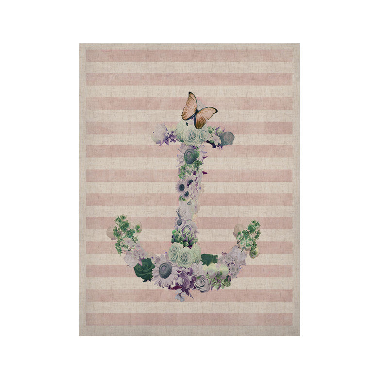 "Nika Martinez ""Floral Anchor"" Pink Stripes KESS Naturals Canvas (Frame not Included) - KESS InHouse  - 1"