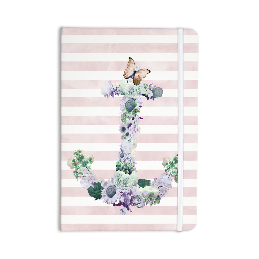 "Nika Martinez ""Floral Anchor"" Pink Stripes Everything Notebook - KESS InHouse  - 1"