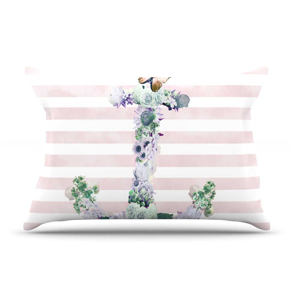 "Nika Martinez ""Floral Anchor"" Pink Stripes Pillow Sham - KESS InHouse"