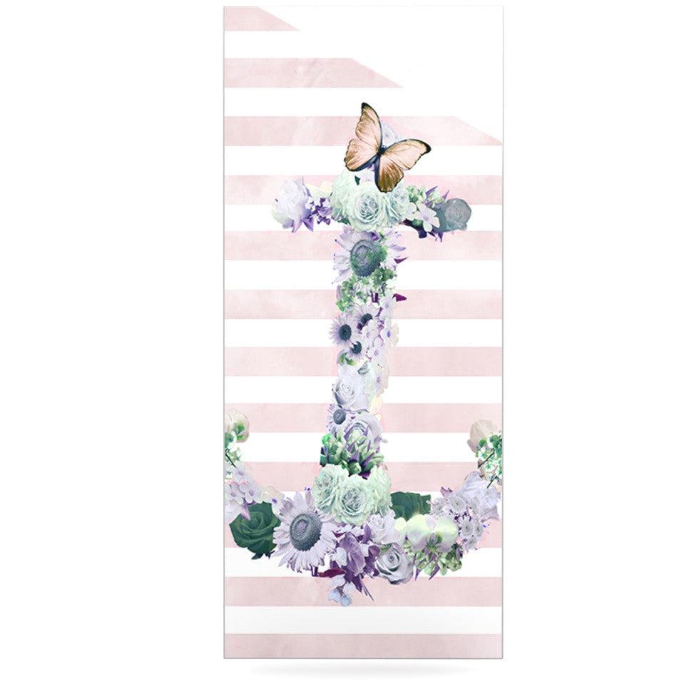 "Nika Martinez ""Floral Anchor"" Pink Stripes Luxe Rectangle Panel - KESS InHouse  - 1"