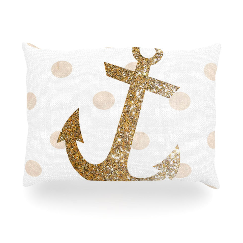 "Nika Martinez ""Glitter Anchor"" Gold Sparkles Oblong Pillow - KESS InHouse"