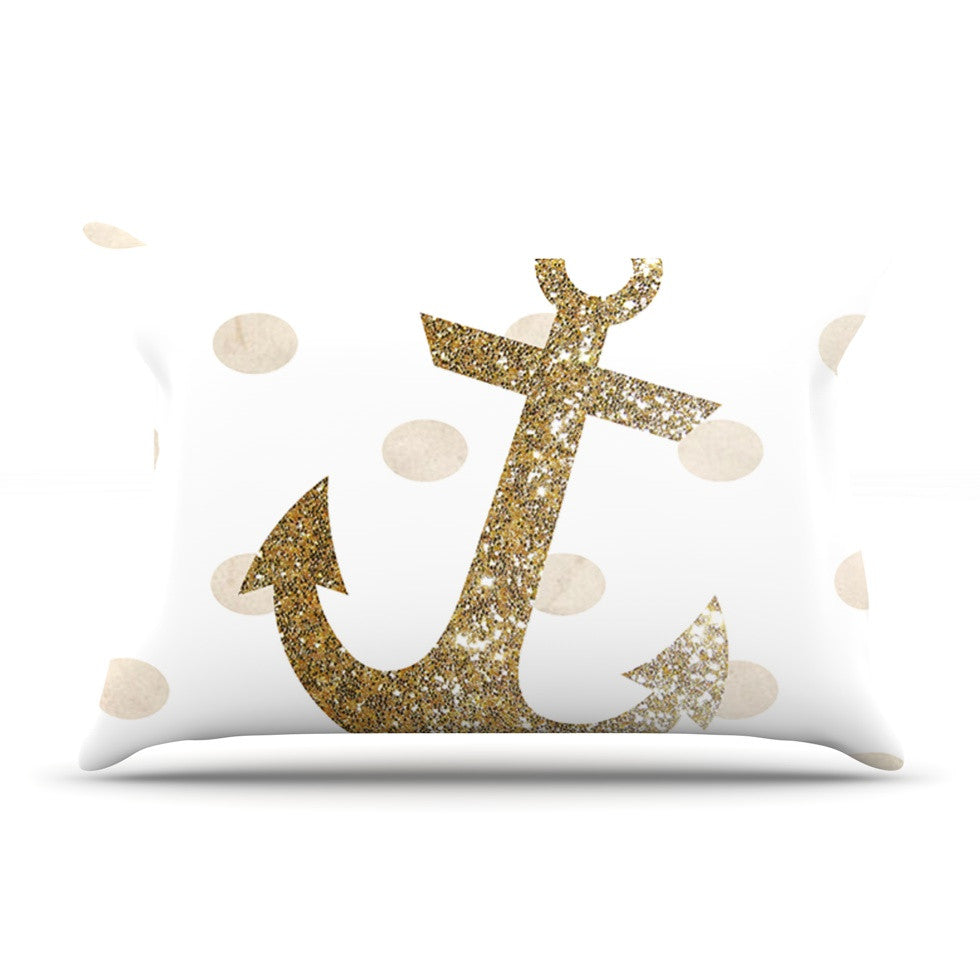 "Nika Martinez ""Glitter Anchor"" Gold Sparkles Pillow Sham - KESS InHouse"