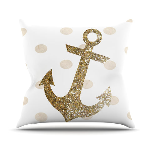 "Nika Martinez ""Glitter Anchor"" Gold Sparkles Outdoor Throw Pillow - Outlet Item"