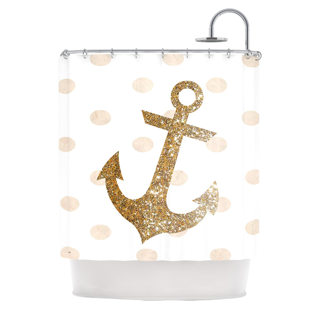 "Nika Martinez ""Glitter Anchor"" Gold Sparkles Shower Curtain - KESS InHouse"