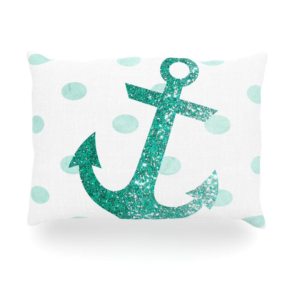 "Nika Martinez ""Glitter Anchor in Mint"" Teal Oblong Pillow - KESS InHouse"