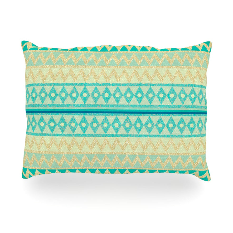 "Nika Martinez ""Glitter Chevron in Teal"" Blue Pattern Oblong Pillow - KESS InHouse"
