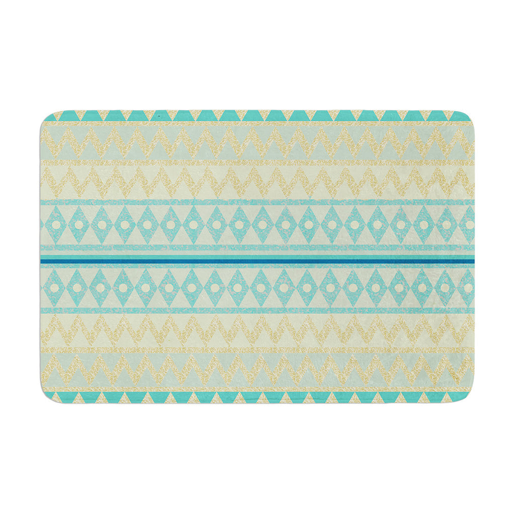 "Nika Martinez ""Glitter Chevron in Teal"" Blue Pattern Memory Foam Bath Mat - KESS InHouse"