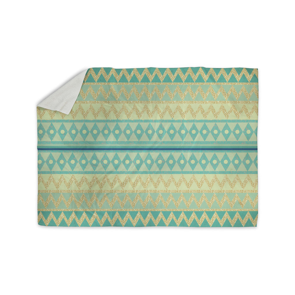 "Nika Martinez ""Glitter Chevron in Teal"" Blue Pattern Sherpa Blanket - KESS InHouse  - 1"