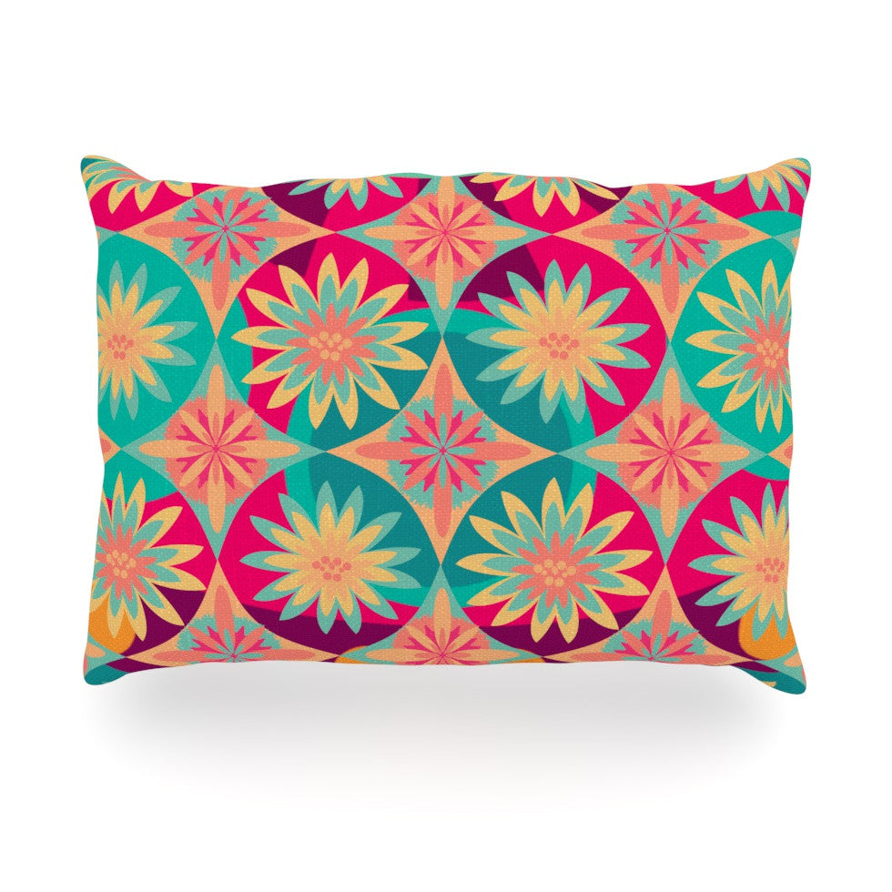"Nika Martinez ""Happy Flowers"" Floral Abstract Oblong Pillow - KESS InHouse"