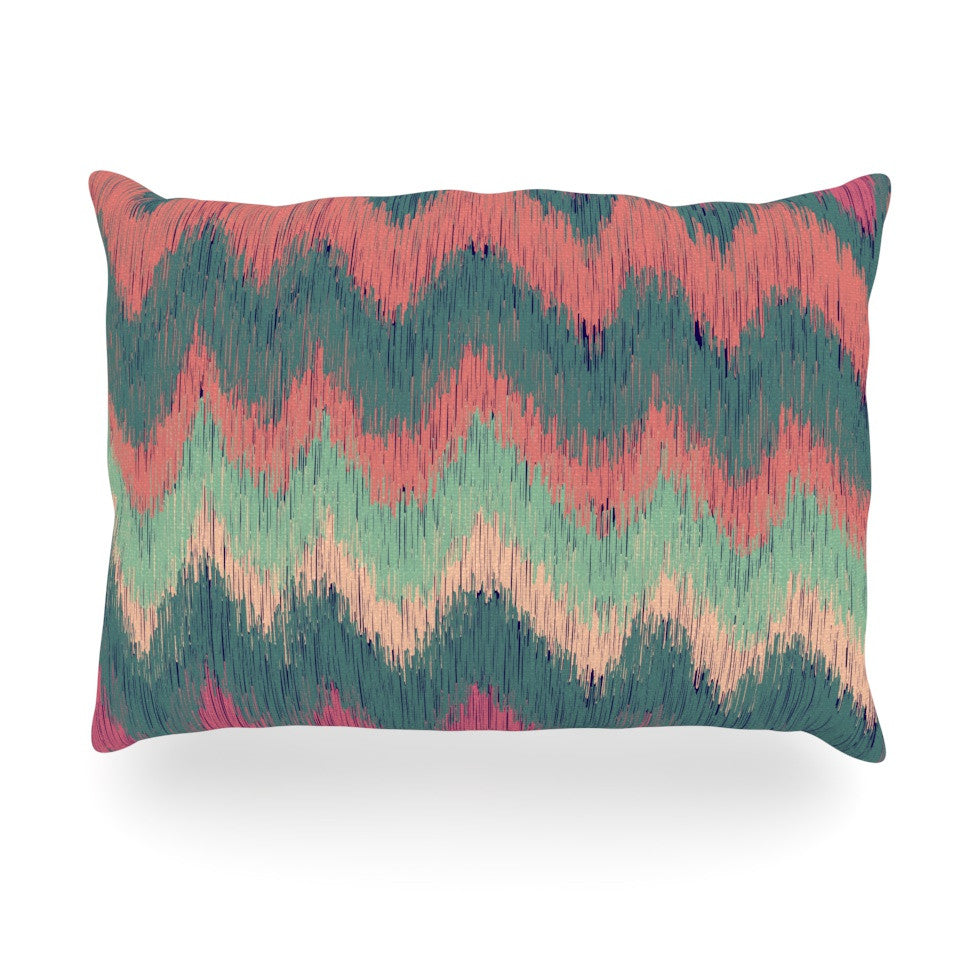 "Nika Martinez ""Ikat Chevron"" Multicolor Oblong Pillow - KESS InHouse"