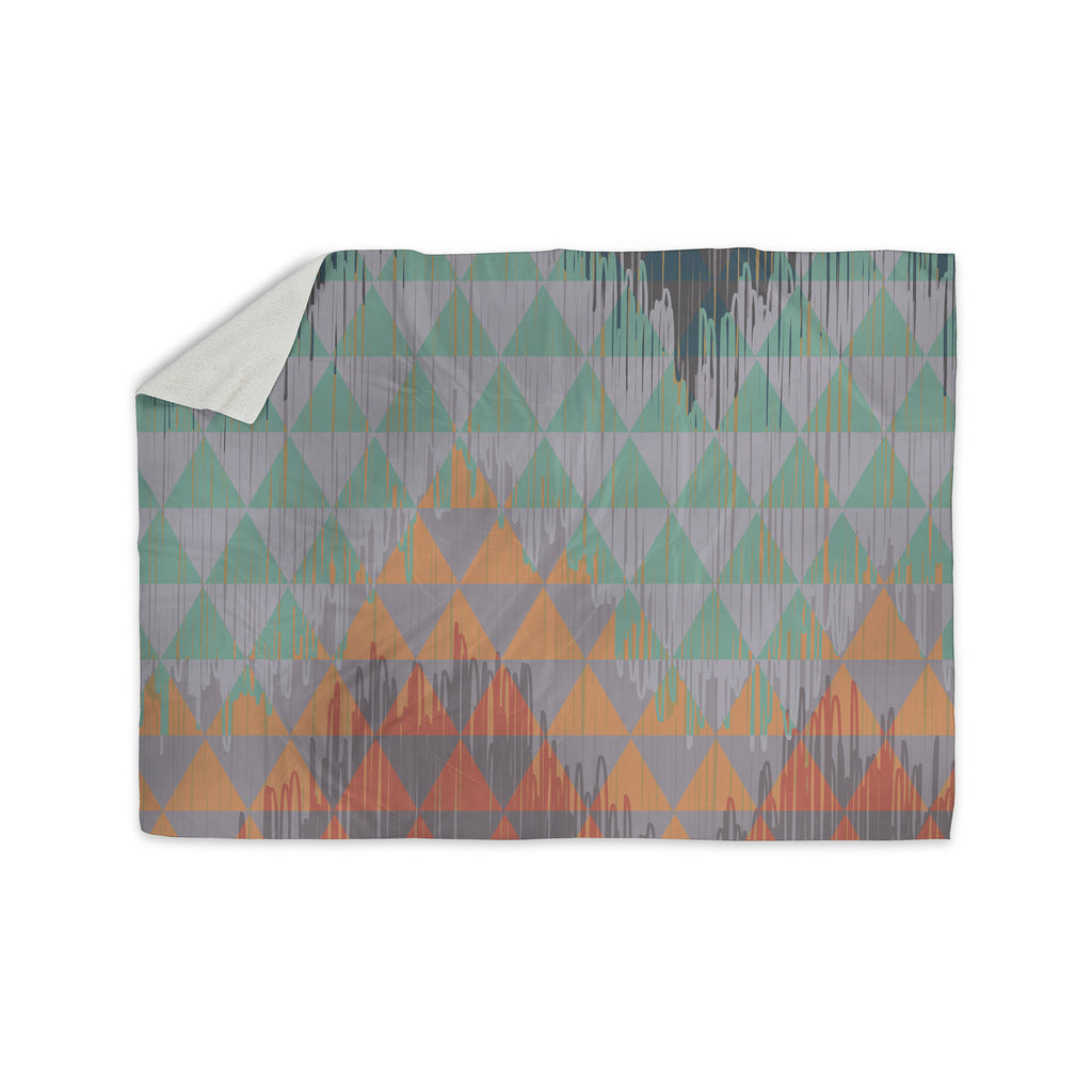 "Nika Martinez ""Ikat Geometrie"" Green Orange Sherpa Blanket - KESS InHouse  - 1"