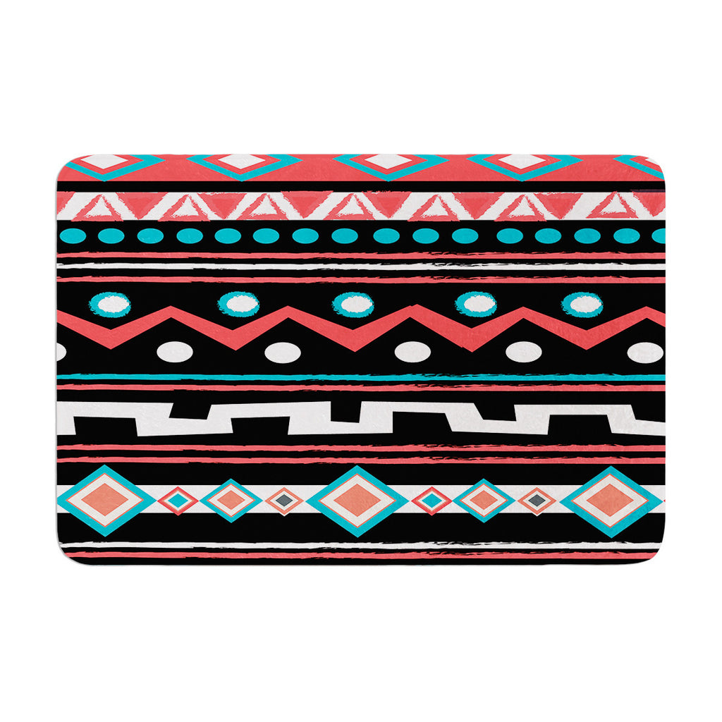 "Nika Martinez ""Black Tipi"" Red Tribal Memory Foam Bath Mat - KESS InHouse"