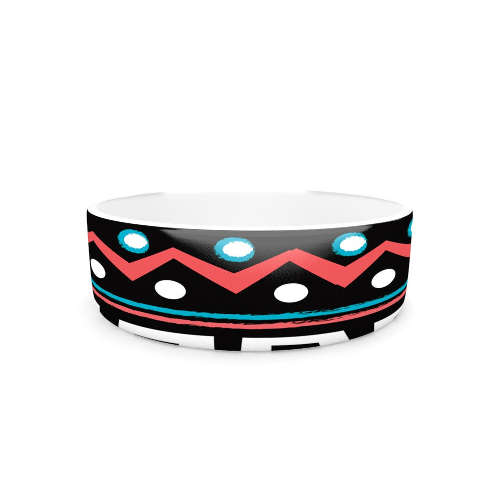 "Nika Martinez ""Black Tipi"" Red Tribal Pet Bowl - KESS InHouse"