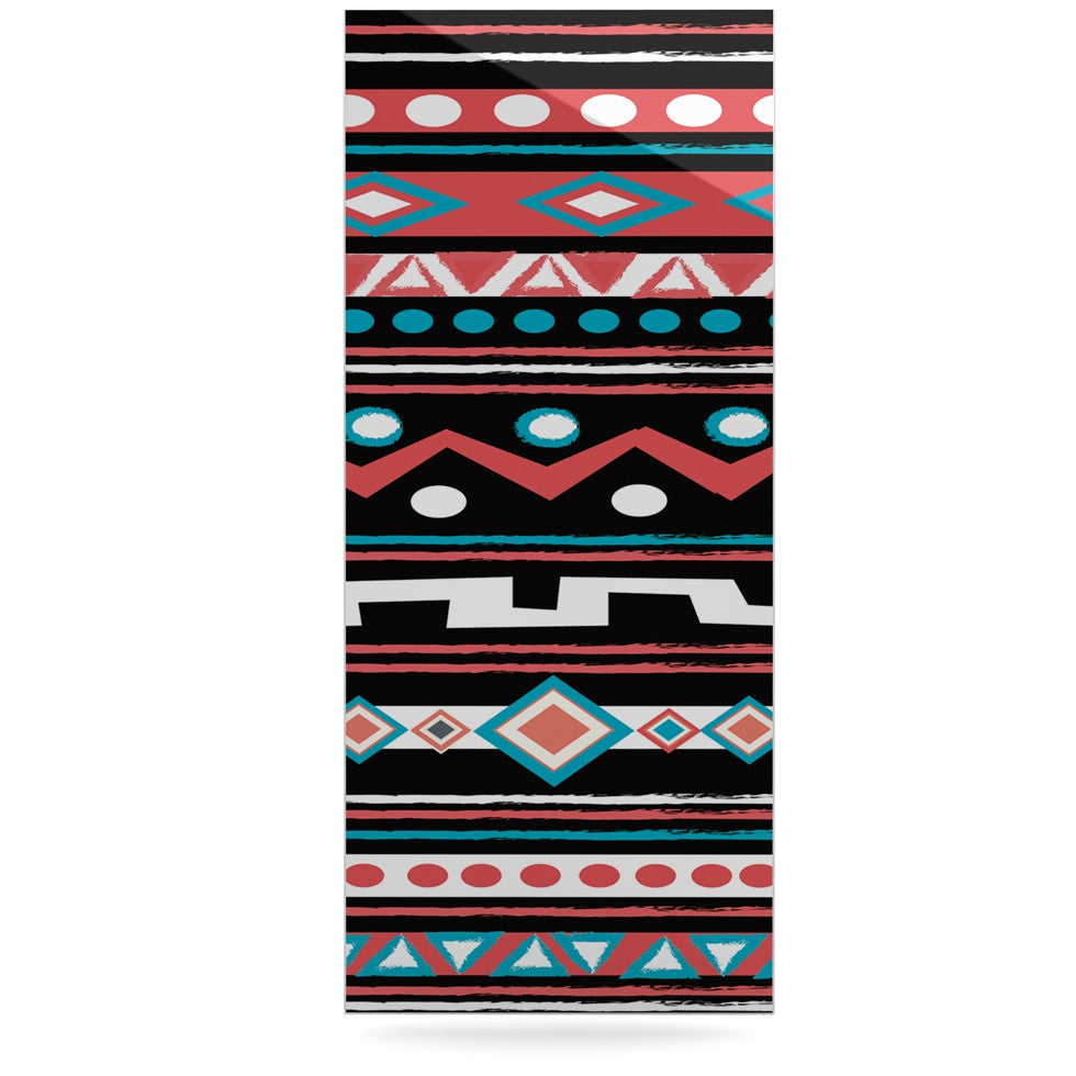 "Nika Martinez ""Black Tipi"" Red Tribal Luxe Rectangle Panel - KESS InHouse  - 1"