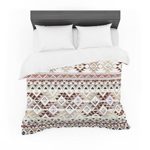 "Nika Martinez ""Tribal Native In Pastel Brown"" Brown Featherweight Duvet Cover - Outlet Item"