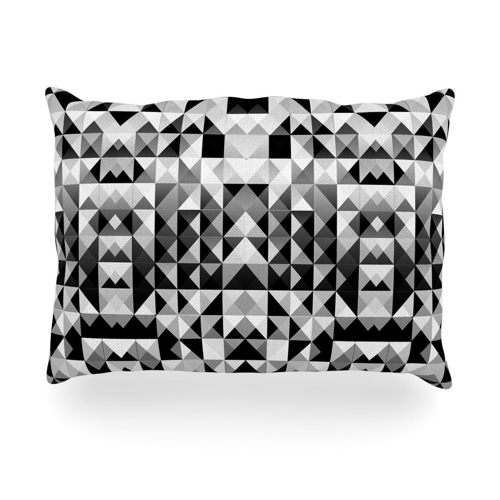 "Nika Martinez ""Geometrie Black & White"" Gray Oblong Pillow - KESS InHouse"