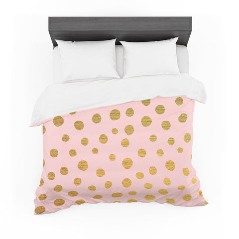 "Nika Martinez ""Golden Dots & Pink"" Blush Featherweight Duvet Cover - Outlet Item"