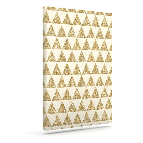 "Nika Martinez ""Glitter Triangles in Gold"" Tan Yellow Canvas Art - KESS InHouse"