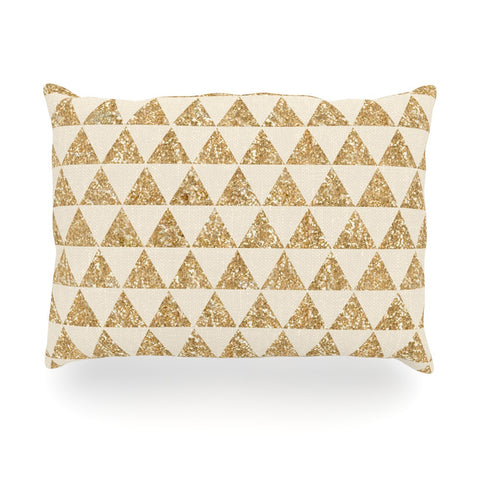 "Nika Martinez ""Glitter Triangles in Gold"" Tan Yellow Outdoor Throw Pillow - KESS InHouse"