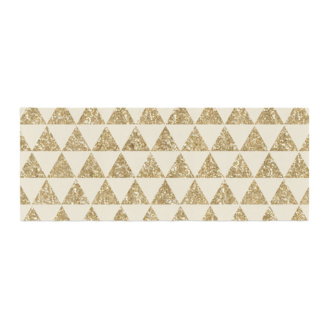 "Nika Martinez ""Glitter Triangles in Gold"" Tan Yellow Bed Runner - KESS InHouse"