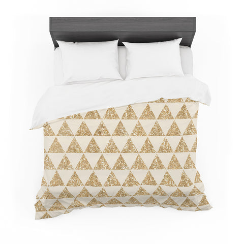 "Nika Martinez ""Glitter Triangles in Gold"" Tan Yellow Featherweight Duvet Cover"