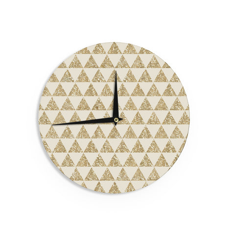 "Nika Martinez ""Glitter Triangles in Gold"" Tan Yellow Wall Clock - KESS InHouse"