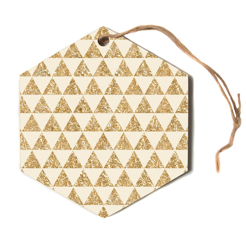 "Nika Martinez ""Glitter Triangles In Gold"" Tan Yellow Hexagon Holiday Ornament"