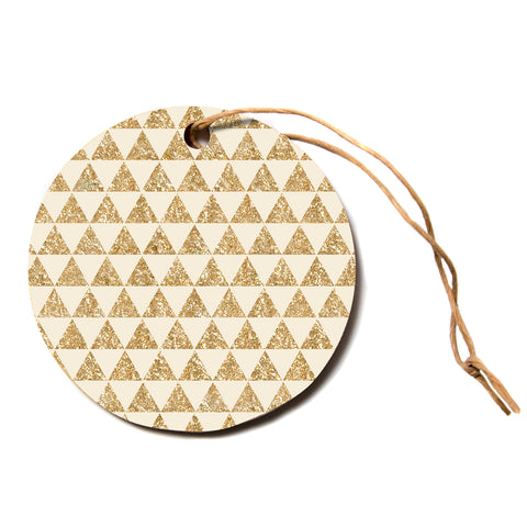 "Nika Martinez ""Glitter Triangles In Gold"" Tan Yellow Circle Holiday Ornament"