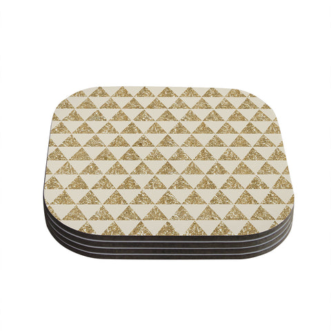 "Nika Martinez ""Glitter Triangles in Gold"" Tan Yellow Coasters (Set of 4)"