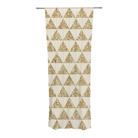 "Nika Martinez ""Glitter Triangles in Gold"" Tan Yellow Decorative Sheer Curtain - KESS InHouse"