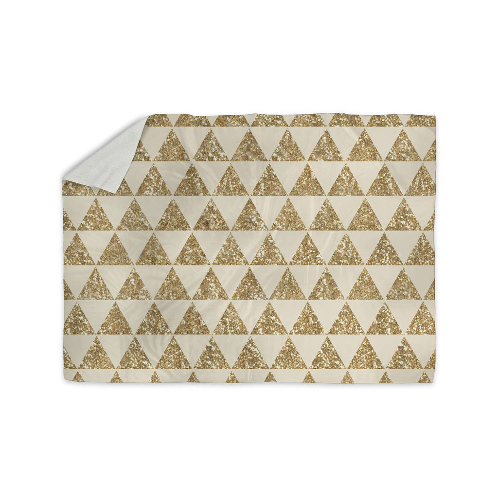 "Nika Martinez ""Glitter Triangles in Gold"" Tan Yellow Sherpa Blanket - KESS InHouse  - 1"
