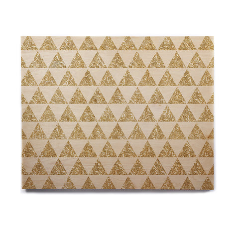 "Nika Martinez ""Glitter Triangles in Gold"" Tan Yellow Birchwood Wall Art - KESS InHouse  - 1"