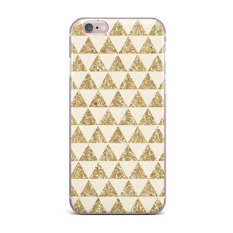 "Nika Martinez ""Glitter Triangles in Gold"" Tan Yellow iPhone Case - KESS InHouse"
