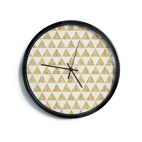 "Nika Martinez ""Glitter Triangles in Gold"" Tan Yellow Modern Wall Clock"